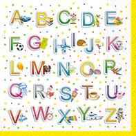 20 Servietten Buntes Alphabet / Schule / Schulanfang / Schulbeginn 33x33cm