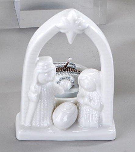 Formano teelichtleuchter crèche de noël en porcelaine blanc 10 cm