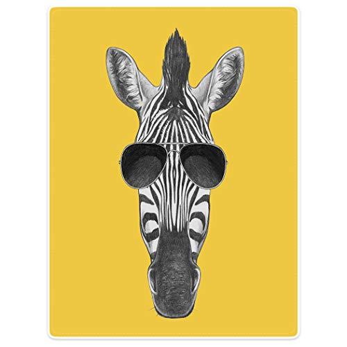 0 cm Kuscheldecken Sanft Flanell Weich Fleecedecke Zebra Mit Sonnenbrille,Gelb ()
