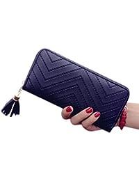 Rawdah Mujeres de cuero titular de la tarjeta de largo cartera embrague borla bolso