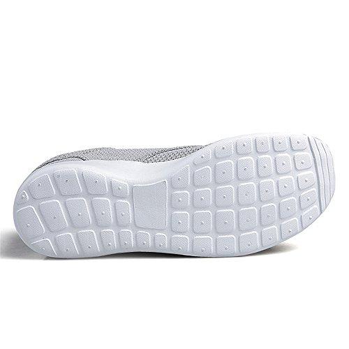 Uomo Scarpe da Corsa Sport Classica Stringata Sneaker Palestra Running Sneaker Grigio