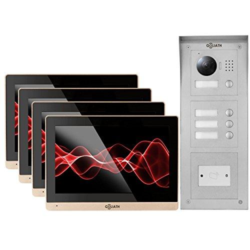 'Goliath IP Video citofono, 4X 10,2interni della Stazione, 1X, HD esterno Station, RFID, 1.3Mega Pixel Fotocamera, Interfono, Video citofono, 4della Famiglia della Casa Set