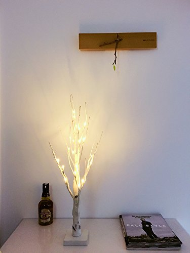 60cm LED Lichterbaum / Birke-Baum, 24 LEDs beleuchtet, weiße Lichterzweige (Warmweiß)