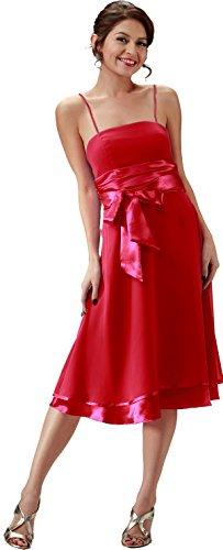 Brautjungfernkleid schlicht Cocktailkleid Abendkleid kurz (36, Rot) (Seiden-chiffon-kleid Geraffte)