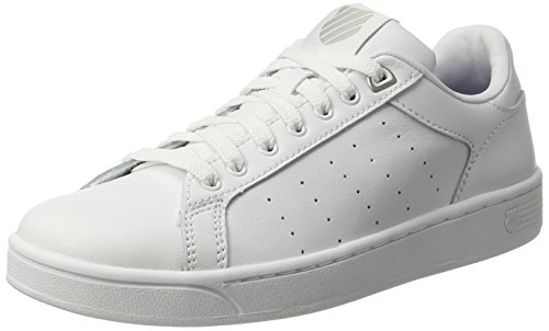 Leder Court Sneaker (K-Swiss Damen Clean Court Cmf Sneakers, Weiß(White/Gull Gray 131), 38 EU)