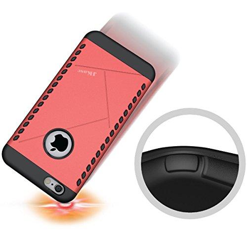 JKase - Série CANVAS- Protection Double Couche - Coque de Armure pour Apple iPhone 6S Plus / 6 Plus (Argent) Rose