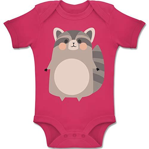 Shirtracer Karneval und Fasching Baby - Kostüm Fasching Waschbär - 3-6 Monate - Fuchsia - BZ10 - Baby Body Kurzarm Jungen Mädchen