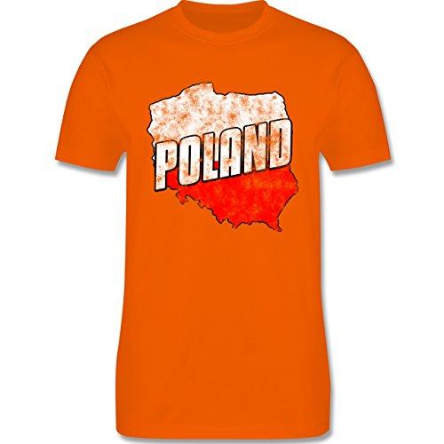 EM 2016 - Frankreich - Poland Umriss Vintage - Herren Premium T-Shirt Orange