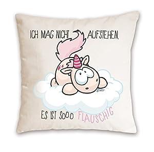 NICI 41252.0- Cojín con el Unicornio Theodor y Texto Ich mag Nicht, de algodón Impreso, 37 x 37 cm