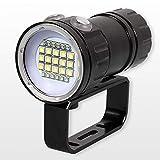 MX kingdom Linterna de Buceo 28800LM(MAX) LED 7modelos IPX8 300W 18650 Impermeable de luz 80m multifunción Submarino Linterna de Buceo Luz de fotografía Lámpara de la
