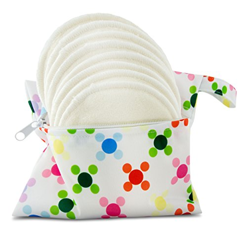 Almohadillas de lactancia de bambú orgánico lavable, pack de 8 (4 pares) con bolsa de tela - Naturales y reutilizables, ultrasuaves y superabsorbentes, las almohadillas de lujo definitivas para el pecho - De Serenity Bamboo