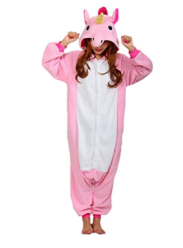 Hot unisex costume carnevale halloween pigiama animali kigurumi cosplay zoo onesies tuta-s/149-pony unicorno rosa