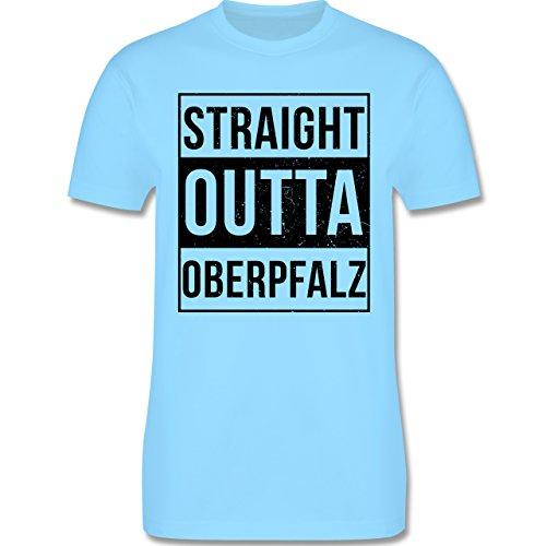 Oberpfalz Männer - Straight Outta Oberpfalz Schwarz - L190 Schlichtes Männer Shirt Hellblau