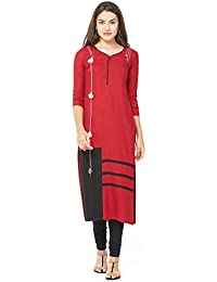 Aysis Women's Cotton Straight Maternity/Nursing/Easy Feeding/Breastfeeding/Kurti/Kurta/Dress/with Zippers for PRE and Post Pregnancy-Elina3104-M Size