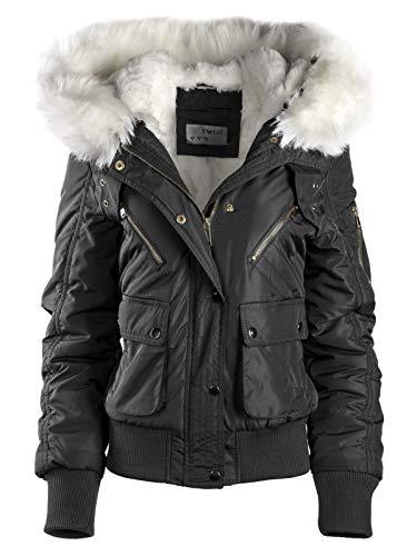 Damen Winterjacke KURZ Mantel Pilotenjacke Army Style XXL Fell Kapuze WARM, Farbe:Schwarz, Größe:L