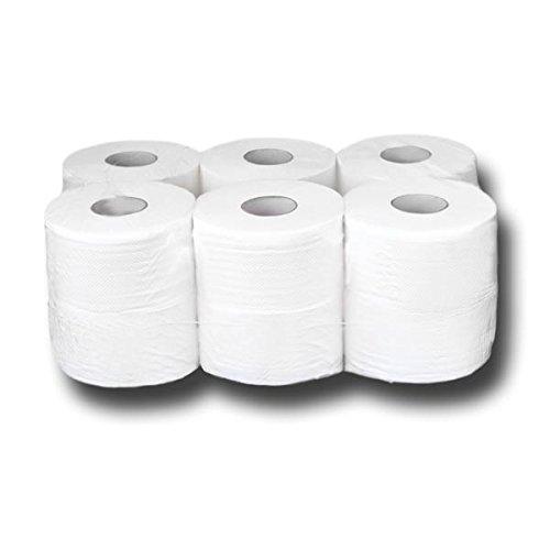 12 Mini Jumbo Rollen Toilettenpapier 2 lagig Zellstoff ca. 18cm, Premium-Klopapier, WC-Papier, 150 m lang, saugstark - Jumbo-rollen