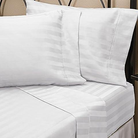 100% coton égyptien Super King Size avec rayures Blanc Ensemble