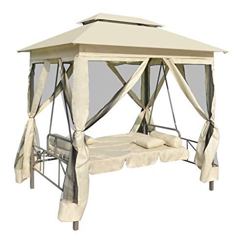 tidyard Pavillon Schaukelstuhl Hollywoodschaukel Gartenschaukel mit Bettfunktion Stahlrahmen Max. Tragfähigkeit 240 kg 220 x 160 x 240 cm Cremeweiß