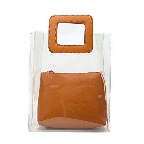 Wildlead Women Lady Handbag Composite Bag Transparent PVC Summer Beach Jelly Pouch Tote (Jelly-geldbörse)