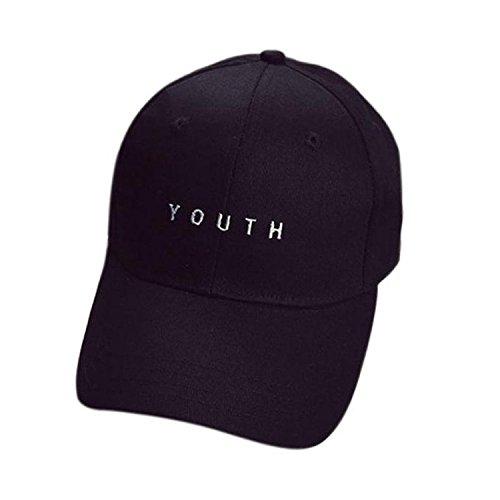 Minetom Unisex Baseball Kappe Hip Hop Kurz Stil Bestickt Stickerei Brief Mode Hüte Schwarz One Size