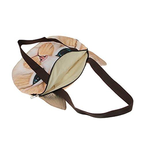 Liying Neu Umhängetasche Handtasche Taschen Damen Schultasche Schulrucksack Beutel Katze mit angenähten Ohren Gelb