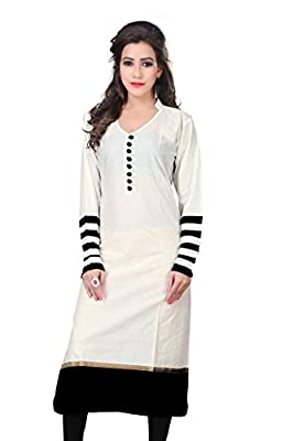 Vatsla Enterprise Women'S Cotton White Kurta (Vkr-51012A_White_Free Size) - White 100% Genuine Product From Vatsla Enterprise , Customer Satisfaction T&C Apply.