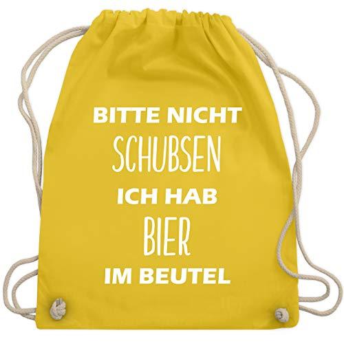 Festival Turnbeutel - Bitte nicht schubsen ich hab Bier im Beutel - Unisize - Gelb - WM110 - Turnbeutel & Gym Bag (Bin Gelb-stoff)