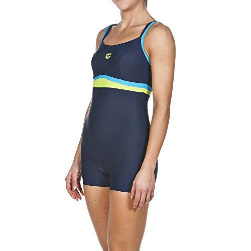 arena Damen Bein Celebrity Badeanzug, Navy/Turquoise/Leaf, 42