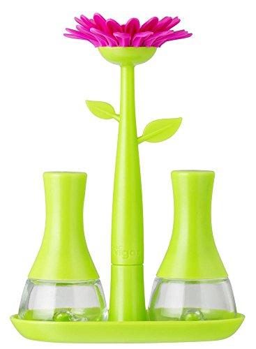 Vigar Flower Power - Set de sal y pimienta, color verde y magenta