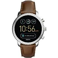 FOSSIL Montre connectée Explorist | Smartwatch homme étanche en cuir marron - Compatibilité iOS & Android - Coffret montre avec son chargeur