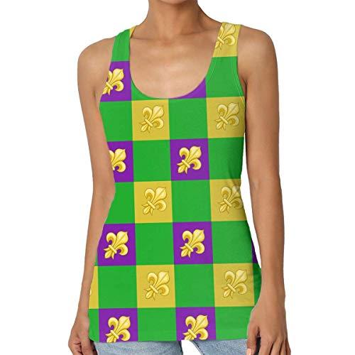 Henrnt Damen Unterwäsche/Weste,Damen Tops Sommer, Mardi Gras Fleur De Lis Women Tank Top T-Shirt Funny Sleeveless Sport Vest Racerback
