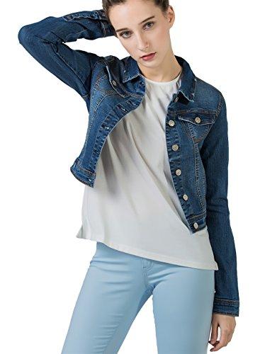 PERHAPS U Damen Jeansjacke Leichte Blouson Jacke Denim Jacket Blau