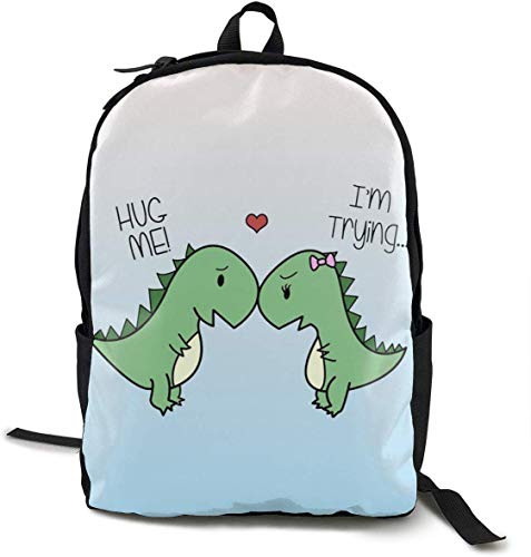 Cute Dinosaurs Hug Me, I\'m Trying Daypack with Padded Straps, Travel Hiking & Camping Rucksack Large Capacity School Shoulder Book Bags Multipurpose Anti-Theft for Women Men