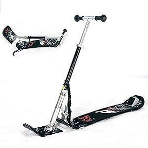 ZQQ Kunststoffrodel,Schnee Schlitten Ski Roller Erwachsenkinderschlitten Der Draußen Ski Fahrrad Licht Roller Ski Brett Metallschlitten Winter Schnee Schieber Faltet