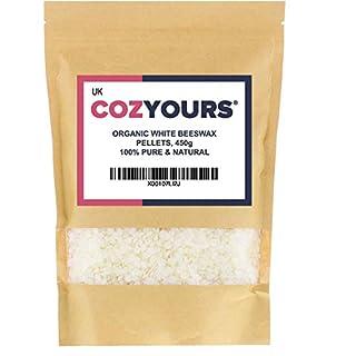 Cozyours Pellettes de cire d'abeille blanche, bio, 450 g