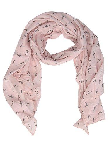 Zwillingsherz Seiden-Tuch mit Sylt Print - Hochwertiger Schal für Damen Mädchen - Halstuch - tuchschal - Loop - Schlauchschal - weicher Damenschal für Sommer Herbst und Winter Frühling rose -