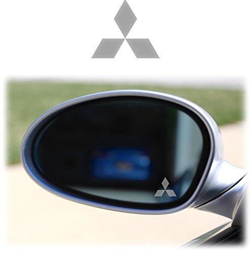 MITSUBISHI WING MIRROR -2 x Spiegelaufkleber aus Milchglasfolie, AUfkleber aus Frostfolie Milchglas Frost wie graviert Gravur Sticker VINYL DECALS STICKERS PAJERO LANCER Type 1 (Mitsubishi Decal Kit)