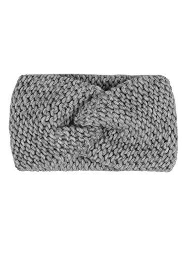 Zwillingsherz Stirnband mit Knoten - Hochwertiges Strick-Kopfband für Damen Frauen Mädchen - Wolle - Ohrenschutz - Haarband - warm weich und luftig für Frühjahr Herbst und Winter - grau