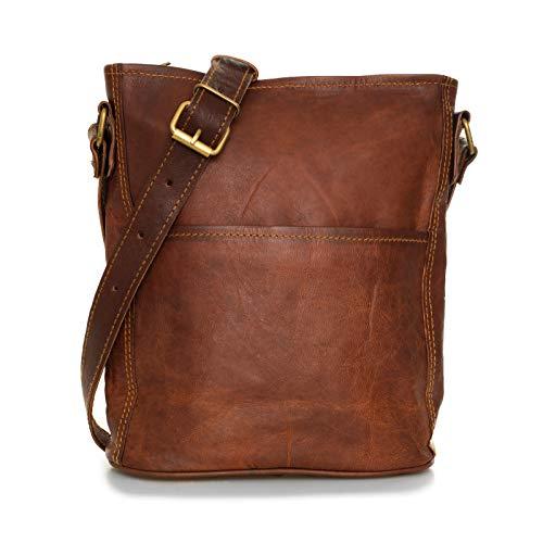Nama 'Isabell' Handtasche Echtes Leder Umhängetasche für Damen Schultertasche Vintage Look Beutel Tasche Shopper Multitasche Naturleder Braun
