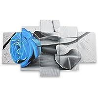 IPLST@ Dipinto a mano su tela floreale blu Olio di Rosa Fiore su Tela- 5 pannelli di grande arte della casa della parete Decori (senza cornice, senza barella)