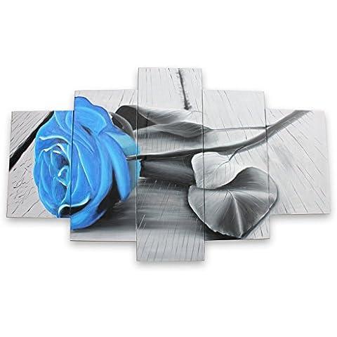IPLST@ Pintado a mano azul de la lona de arte floral de aceite de la flor de Rose en Canvas- 5 paneles del arte grande hogar de la pared décoración (Sin marco, sin bastidor)