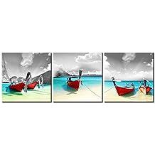 Lienzo Pintura para barcos de Home Decor Rojo sobre azul playa tropical con sol en blanco y negro Sky backgound at Maya bay Phi Phi Leh giclée de isla Tailandia 3piezas Panel pinturas moderno arte enmarcado y estirado sobre la imagen para decoración de la sala de estar fotos Impresiones de fotos sobre lienzo de paisaje