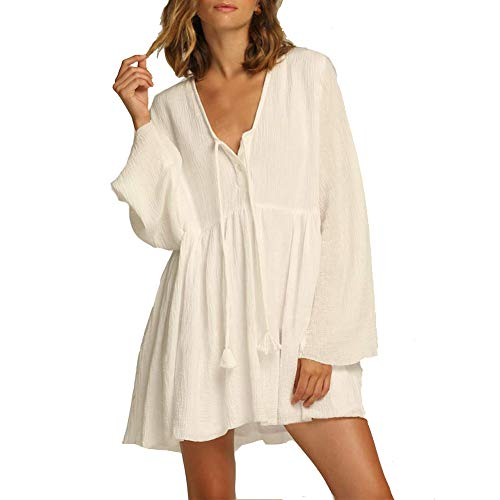 LPER Frauen Sommer Casual Langarm T-Shirt Kleider Strand Vertuschen Einfach Gefaltete Tank Kleid SüßE Niedlichen Badeanzug Uv Beachwear - T-shirt-kleid Schlitzen Mit