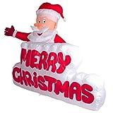 XXL LED WEIHNACHTSMANN + Merry Christmas Schriftzug~120cm hoch~AUFBLASBAR~SELBSTAUFBLASEND~Inflatable~LED BELEUCHTET~Garten DEKO Figur~AIR Blown~WEIHNACHTSDEKO~WEIHNACHTSMANN~AIRBLOWN~AUFBLASBAR~SANTA~