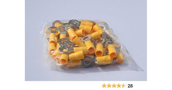 Profitec 50 Stück Kabelschuh Ring M 6 Gelb Für Kabel Elektronik