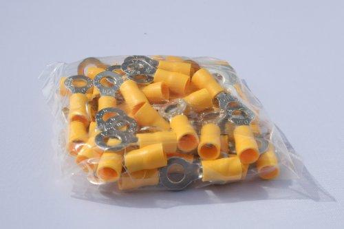 profitec 50 Stück Kabelschuh Ring M 6 gelb für Kabel 4,0 mm²- 6,0mm²