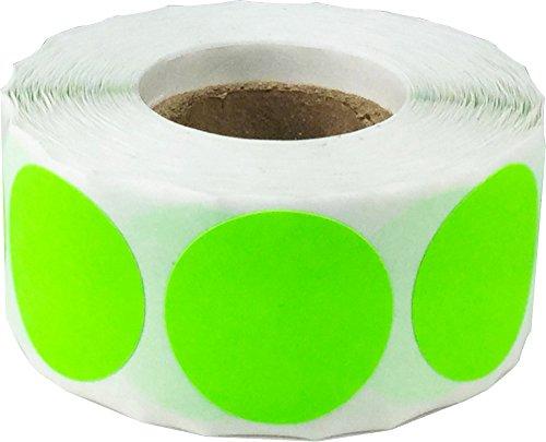 Fluoreszierend Grün Kreis Punkt Aufkleber, 25 mm 1 Zoll Runde, 500 Etiketten auf einer Rolle
