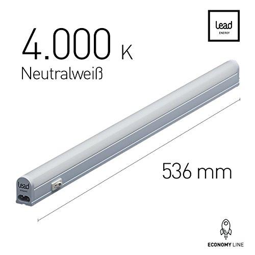 LED Unterbauleuchte |53.6cm | neutralweiß | LED Lichtleiste 9W | extrem hell -720 Lumen | bis 12 Meter nahtlos erweiterbar | geeignete Lampe für die Küche, hinter Möbel, im Werkraum | 3 Jahre Garantie |Zertifiziert