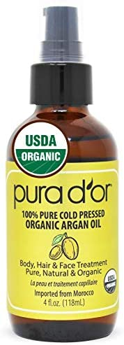 PURA D-OR Moroccan Argan Oil 100% Pure and USDA Organic For Face, Hair, Skin and Nails