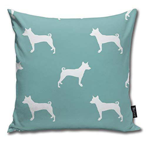Basenji Silhouette Dog Bright Blue Comfortable Soft Bed Pillow Case Household Pillow Case Office Bolster 18x18 Inches (Hug Sex Pillow)